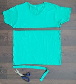 DIY makkelijk maken Tshirt Shawl 3