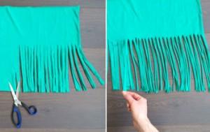 DIY makkelijk maken Tshirt Shawl 4